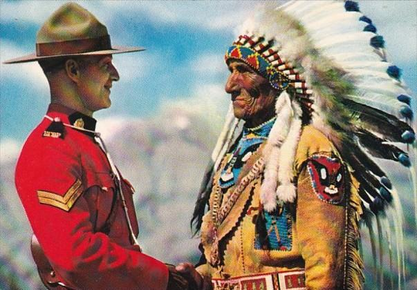Canada Royal Canadian Mounted Police Officer Greets Indian Chief Sitting Eagl...