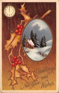 New Year~Midnight Clock on Woodgrain Back~Country Church Oval~Night Lights~1910