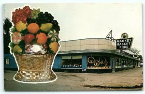 Postcard MI Detroit Market Basket Food Gift Basket Store R04