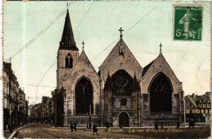 CPA ed. AQUA 310 ROUEN La rue et l'Église St-Vivien (214817)