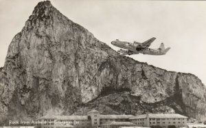 RP; Gibraltar , 30-50s ; Prop Airplane taking Off from Airport