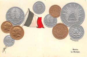 Coin Postcard, Old Vintage Antique Mexico Le Lexique