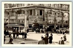 San Francisco CA~Powell @ Geary Trolley~Golden Pheasant Restaurant Adv~1940 RPPC