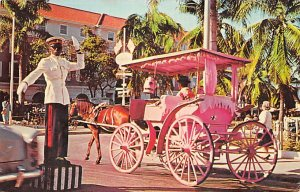 Carriage Taxi and Traffic Policeman Nassau in the Bahamas Unused