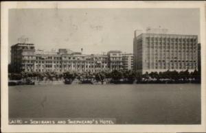 Cairo Egypt Semiramis & Shepheard's Hotel Real Photo Postcard