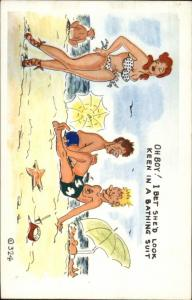 Bathing Beauty Suit So Small Man Doesn't See It Comic Postcard