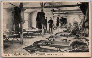 CAMP GRANT Illinois Postcard Barracks Dorm View Army WWI 1917 Rockford Cancel