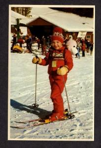 NH Alpine Ridge Ski Area Gilford New Hampshire Postcard Skiing Child PC