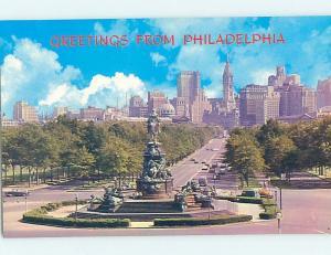 Unused Pre-1980 SKYLINE AND STATUE Philadelphia Pennsylvania PA i0068