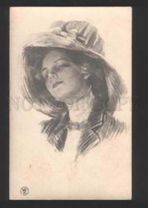 055472 BELLE in HAT by Philip BOILEAU old PHOTO RUSSIAN RARE