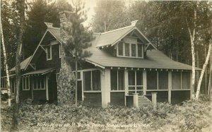 Birchwood Lodge Bungalow 1920s Manitowish Waters Wisconsin RPPC Postcard 20-3082