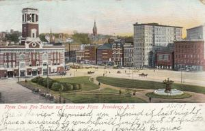 PROVIDENCE , Rhode Island , PU-1907; Three Ones Fire Station & Exchange Place