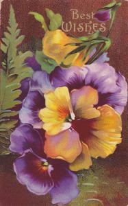Best Wishes, Purple and orange flowers, PU