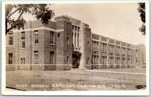 Estherville, Iowa RPPC Real Photo Postcard HIGH SCHOOL Building View c1930s