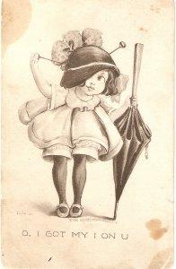 Comic girl with umbrella. I got my I on u  Humorous vintage American postcard