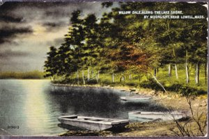 LOWELL - WILLOW DALE - Moonlight view shows flat bottom boats along lake 1908