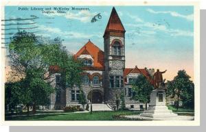 Dayton, Ohio/OH Postcard, Public Library & McKinley Monument