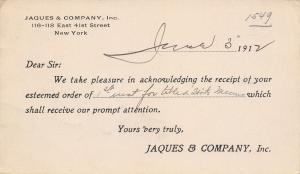 New York City~Jacques & Co High Class Stationers~Postal 1912 GCS Doane Cancel #3