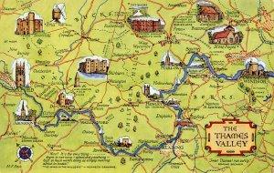 The Thames Valley Map Postcard, Oxford, Abingdon, Reading, Henley, Windsor AZ5
