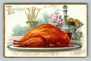 THANKSGIVING - A/S RJ Wealthy Tuck Series #123 Vintage Postcard Turkey Dinner