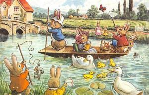 Dressed Animals Post Card Fun on the River Unused