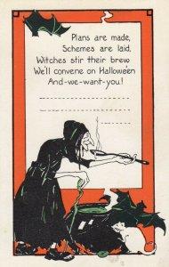 HALLOWEEN , 1910-20s ; Witch & Bats