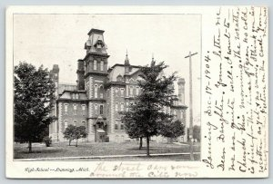 Lansing Michigan~High School~Trees on Lawn~1904 B&W Postcard
