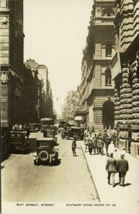 australia, SYDNEY, Pitt Street, Cars, Tram (1930s) Southern Cross Series 26 RPPC