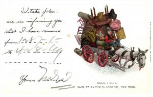 10267   Furniture Mover postcard, Wagon pulled by mule
