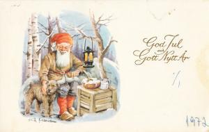 Erik Forsman greeting card New Year God Jul dwarf gnome dog lamp fantasy