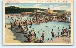 Postcard MO Kansas City Swimming Pool Swope Park Vintage Linen H16