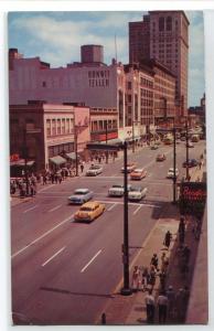 Euclid Avenue at 13th Street Cars Cleveland Ohio 1958 postcard