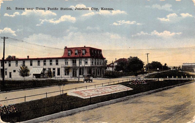 Junction City Kansas~Hotel? Across Union Pacific Railroad Station~Depot~1912 PC
