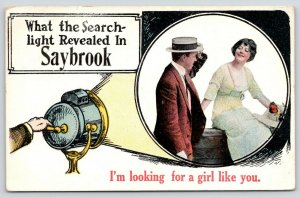 Looking For A Girl Like You in Saybrook Illinois~Search Light on Lady~1915 PC