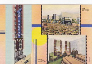 Illinois Chicago Lounge and Typical Bedroon Hotel Chicagoan Curteich