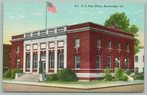 Bainbridge Georgia~US Post Office~Doors Open~Shrubs Along Building~1940s