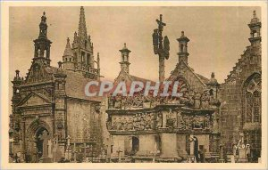 Old Postcard Guimiliau Finistere Calvary and the Church