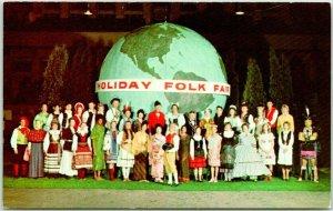 Milwaukee County, Wisconsin Postcard HOLIDAY FOLK FAIR Kids in Costumes / Globe
