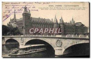 Postcard Old Paris La Conciergerie boat Peniche
