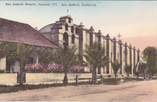 California San Gabriel Mission Founded 1771 Handcolored Albertype