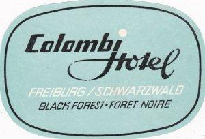 Germany Freiburg Colombi Hotel Vintage Luggage Label sk3157
