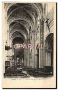 Old Postcard Poissy From Interior & # 39Eglise Notre Dame