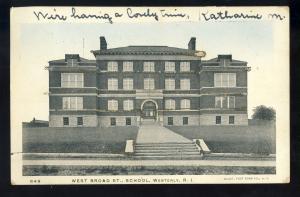 Westerly, Rhode Island/RI Postcard, West Broad Street High School, Glitter,1905!