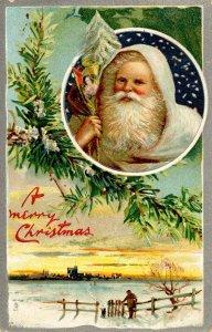 Greeting - Christmas. Santa Claus in  White Robe