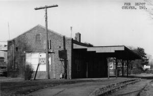 F10/ Culver Indiana RPPC Postcard c1950s Pennsylvania Railroad Depot