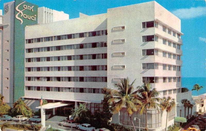 Miami Beach Fl Florida Sans Souci Hotel Roadside C1950 S Chrome Postcard