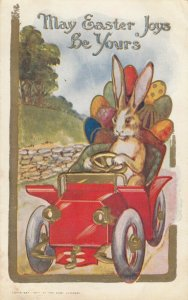 EASTER 1909 ; Rabbit driving a car full of eggs