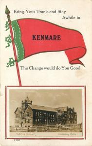 Kenmare ND Real Photo Postcard~Fenced-In School~Pennant: Bring Your Trunk~c1915