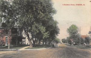 Sumner Iowa~Handcolored Reisdentual Street~Walking Along Side of Buggy~1911 PC