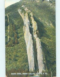 Divided-back NATURE SCENE Weber Canyon - Near Ogden & Salt Lake City UT AD8353